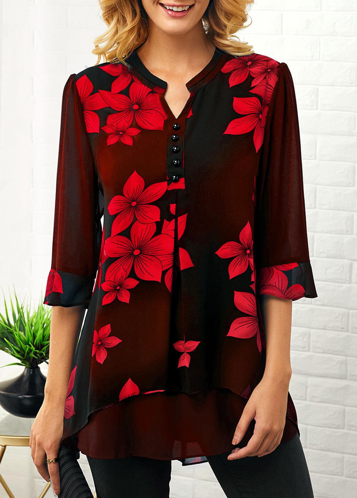 Split Neck Button Detail Flower Print Blouse