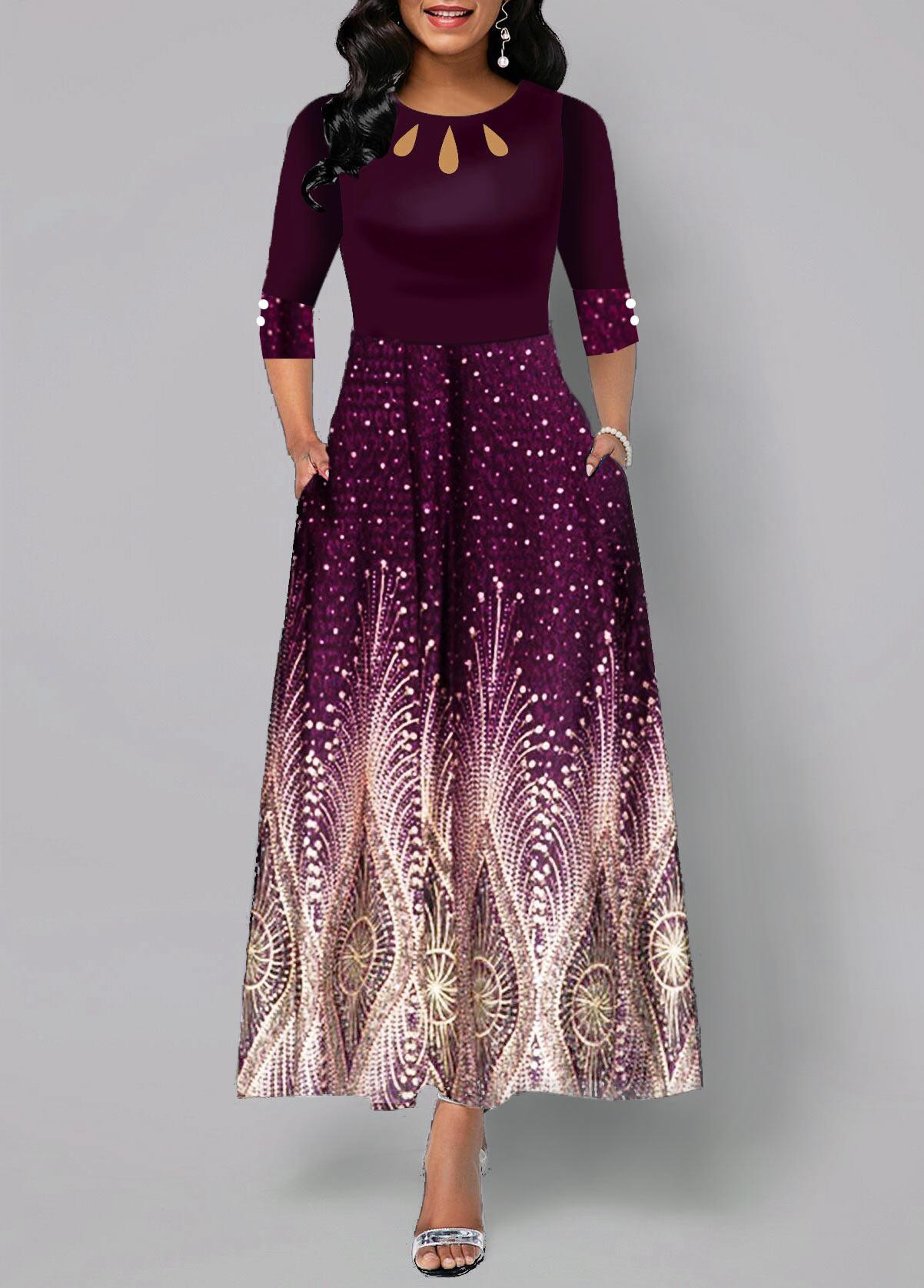 Tribal Print Button Detail High Waist Maxi Dress