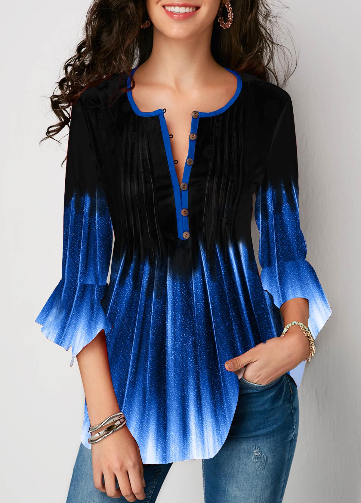 Flare Cuff Crinkle Chest Printed Blouse