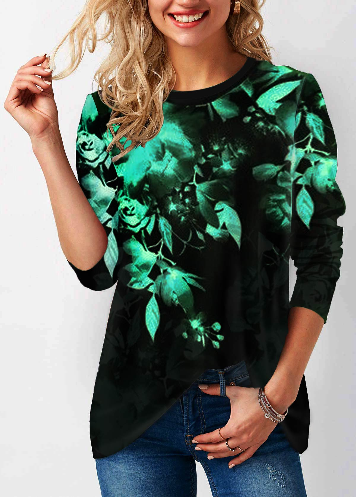 Round Neck Long Sleeve Printed T Shirt