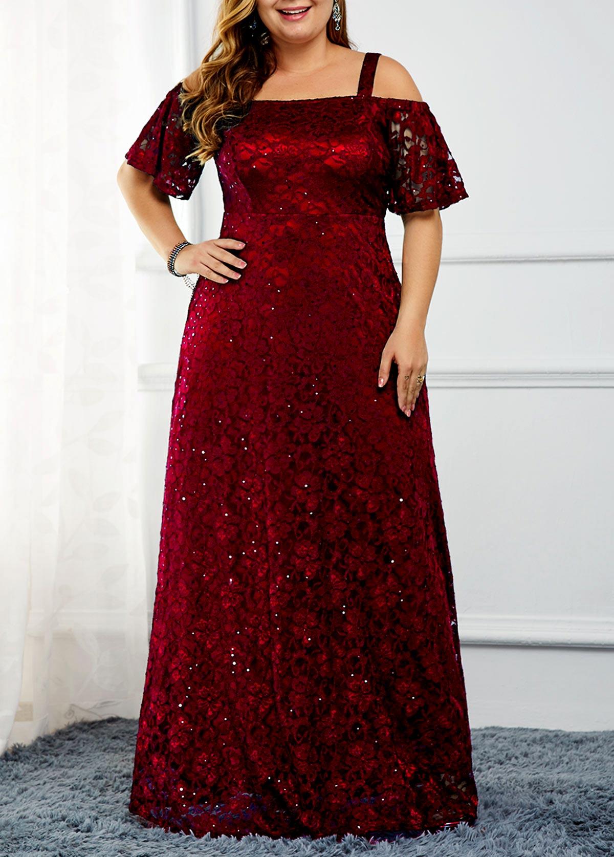 Plus Size Cold Shoulder Sequin Embellished Lace Dress