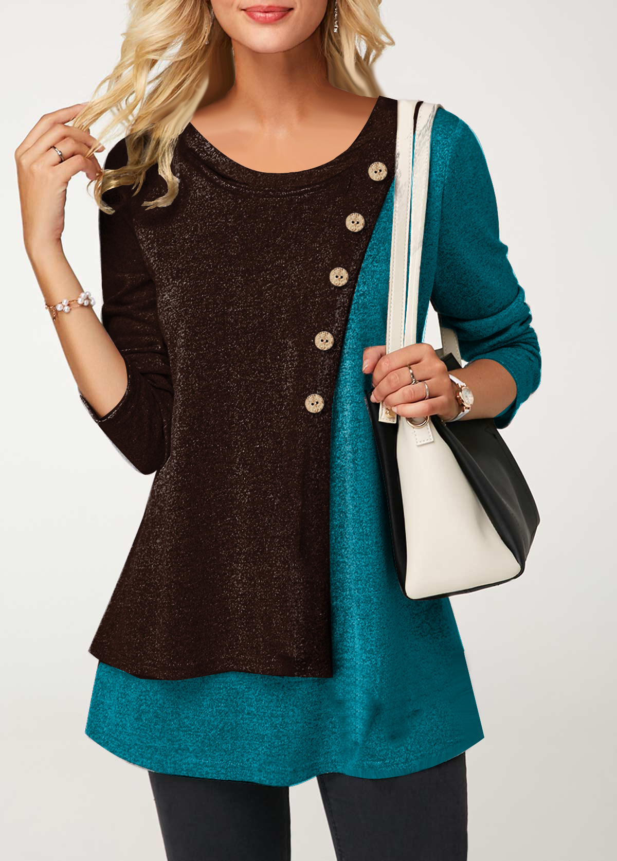 Button Detail Round Neck Long Sleeve T Shirt