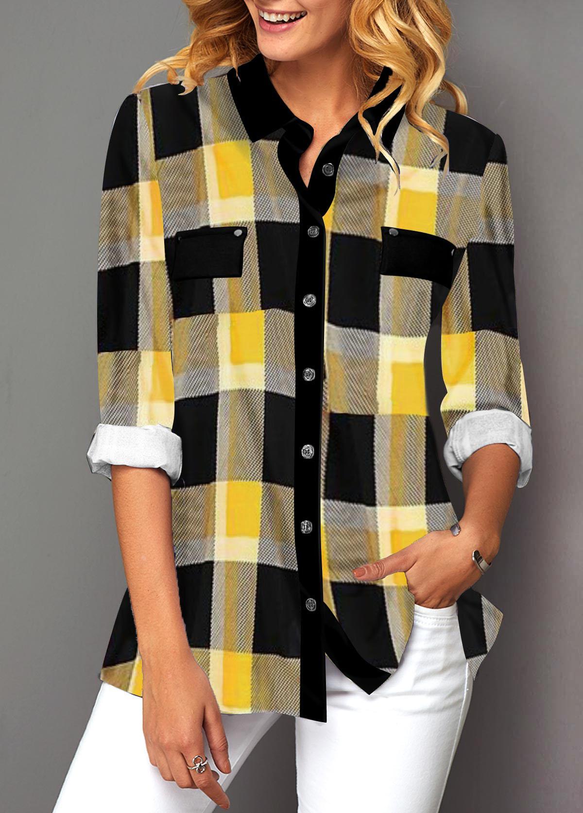 Plaid Print Turndown Collar Button Up Shirt