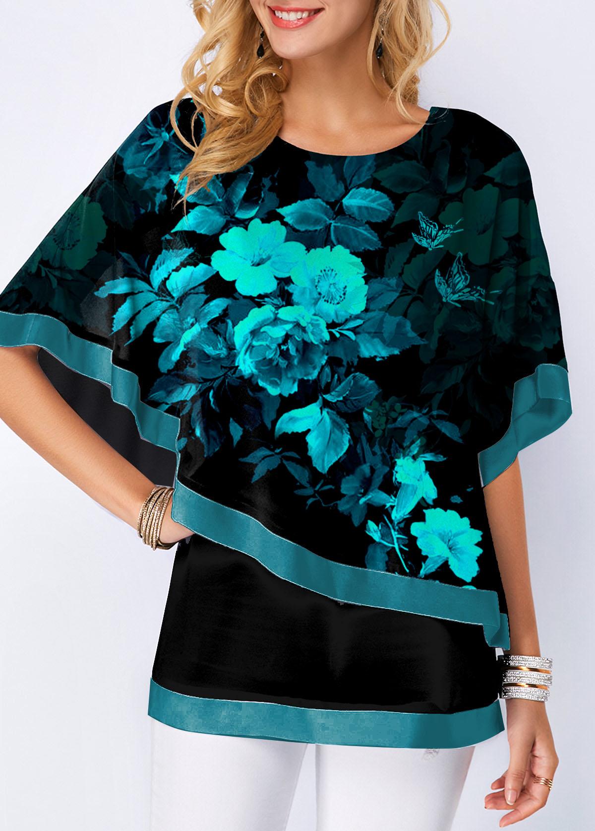 Faux Two Piece Floral Print Round Neck T Shirt