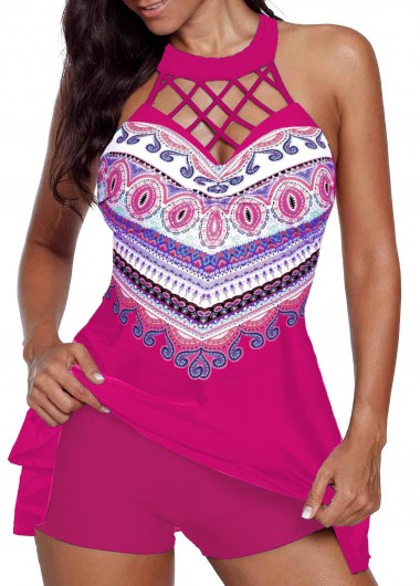 Cage Neck Rose Red Printed Swimdress and Shorts - L