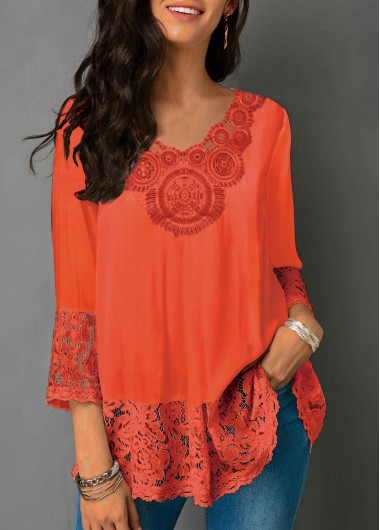 V Neck Lace Panel Three Quarter Sleeve Blouse - L