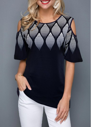 Womens Short Sleeve Navy Blue Tunic Top Printed Cold Shoulder Round Neck T Shirt - L