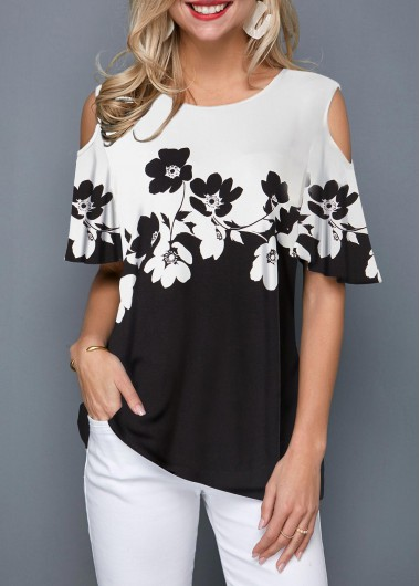 Cold Shoulder Color Block Flower Print T Shirt - M