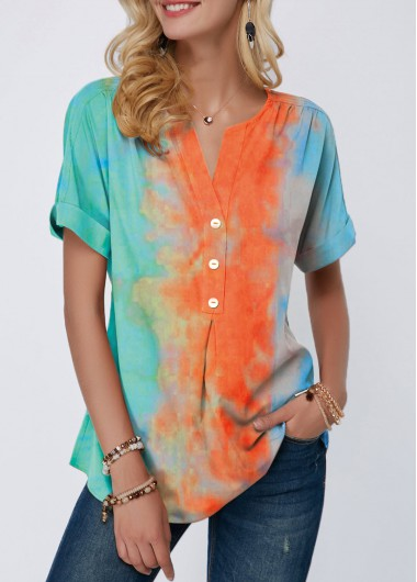Short Sleeve Ombre Shirt for Women Split Neck Tie Dye Print Button Detail T Shirt - M