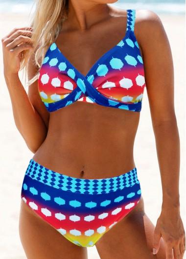 Rainbow Polka Dot Mid Waist Bikini Set - L