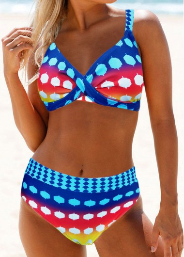Multi Color Cross Front Printed Mid Waist Bikini Set - L