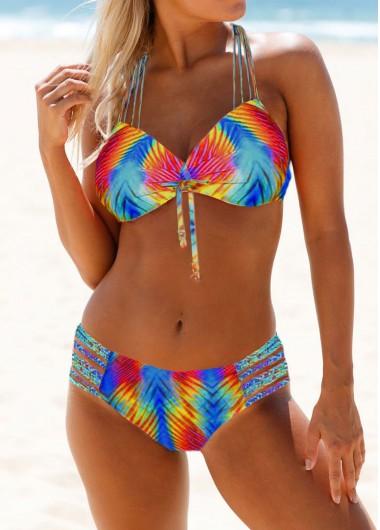 Knot Detail Strappy Back Dazzle Color Bikini Set - XXL