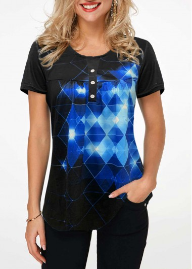 Button Front Short Sleeve Geometric Print T Shirt - L