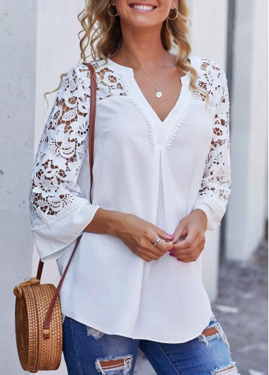 White Split Neck Side Slit Long Sleeve Flare Sleeve Lace Panel Blouse Top for Women - L