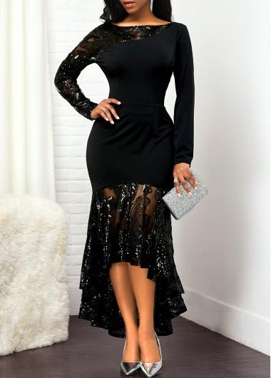 Lace Panel Back Zipper High Low Dress - L