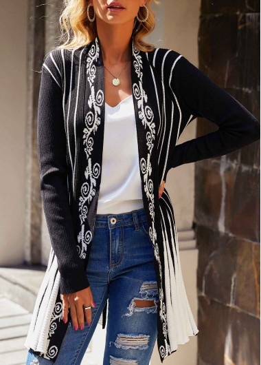 Open Front Long Sleeve Striped Cardigan - L