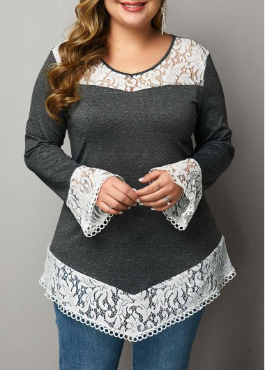 Plus Size Lace Patchwork Flare Sleeve T Shirt - 1X