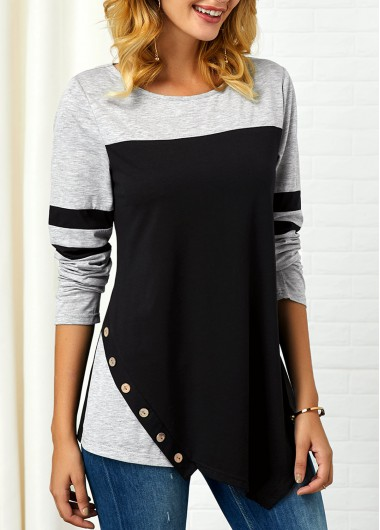 Button Detail Long Sleeve Asymmetric Hem T Shirt - L