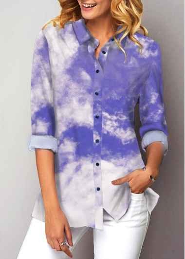 Cloud Print Button Up Turndown Collar Shirt - L