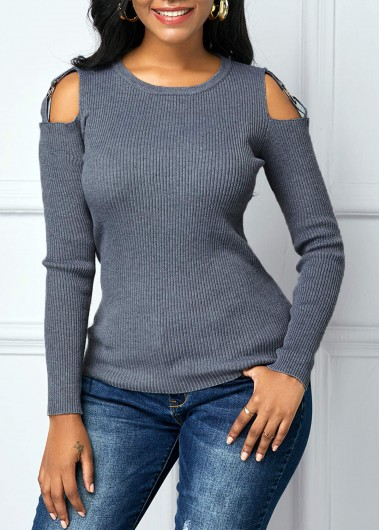 Cutout Shoulder Round Neck Long Sleeve Sweater - L