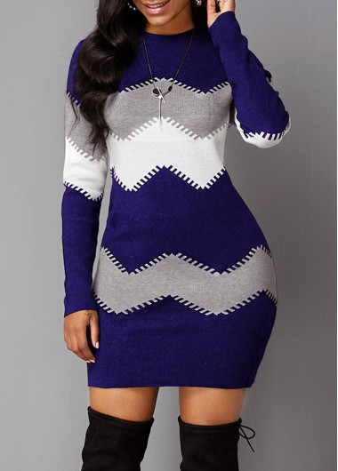 Long Sleeve Mock Neck Chevron Pattern Sweater Dress - XL