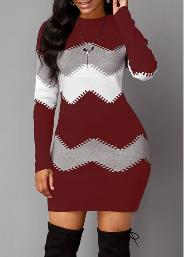 Long Sleeve Chevron Pattern Mock Neck Sweater Dress - L