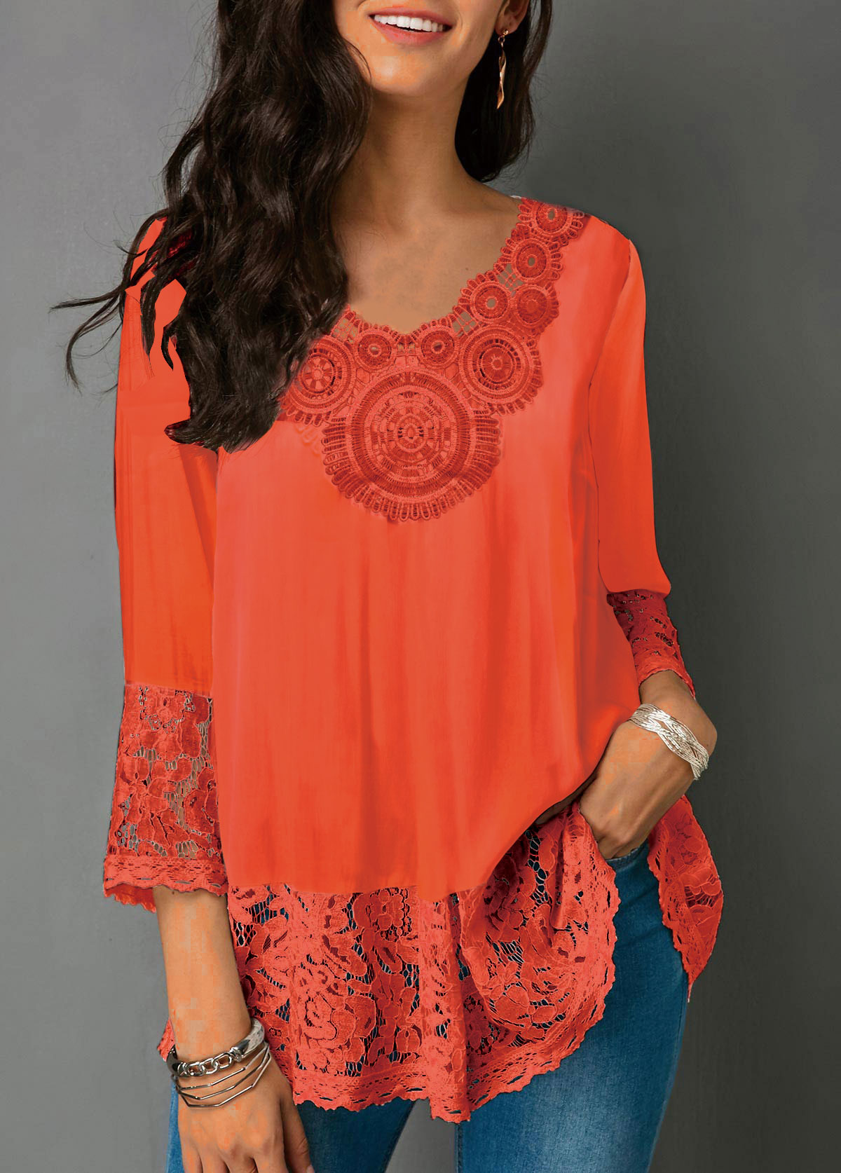 V Neck Lace Panel Three Quarter Sleeve Blouse