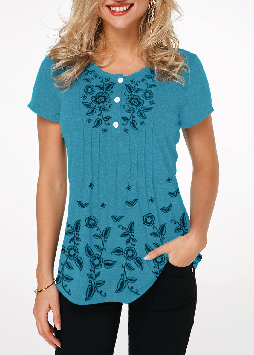 Crinkle Chest Button Front Printed T Shirt