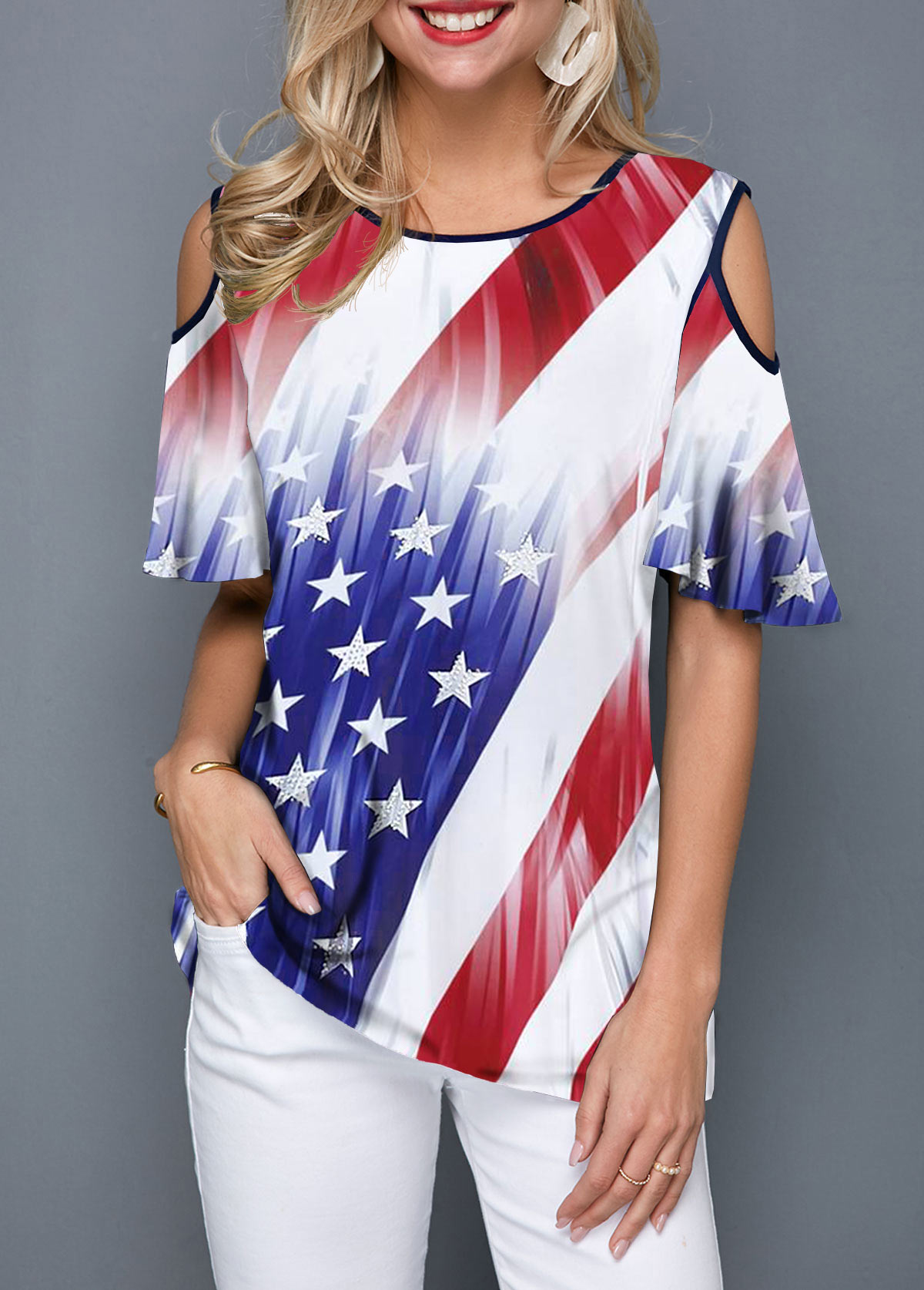 American Flag Print Contrast Piping Cold Shoulder T Shirt