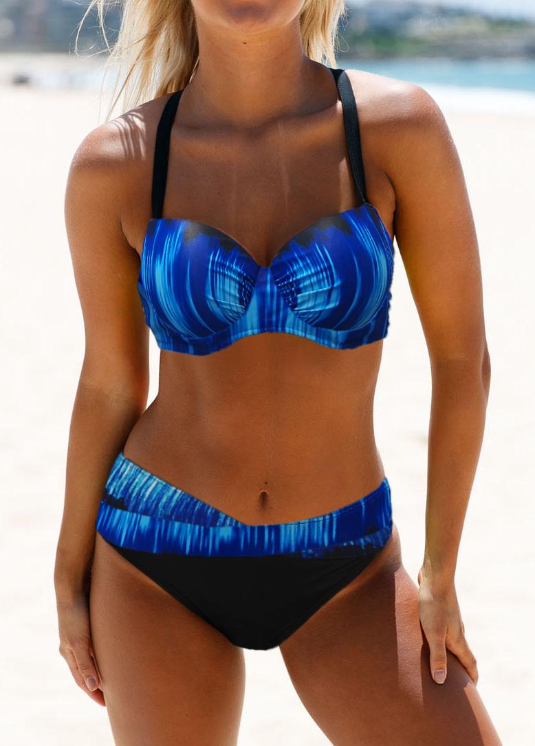 Cross Strap Dazzling Blue Bikini Set