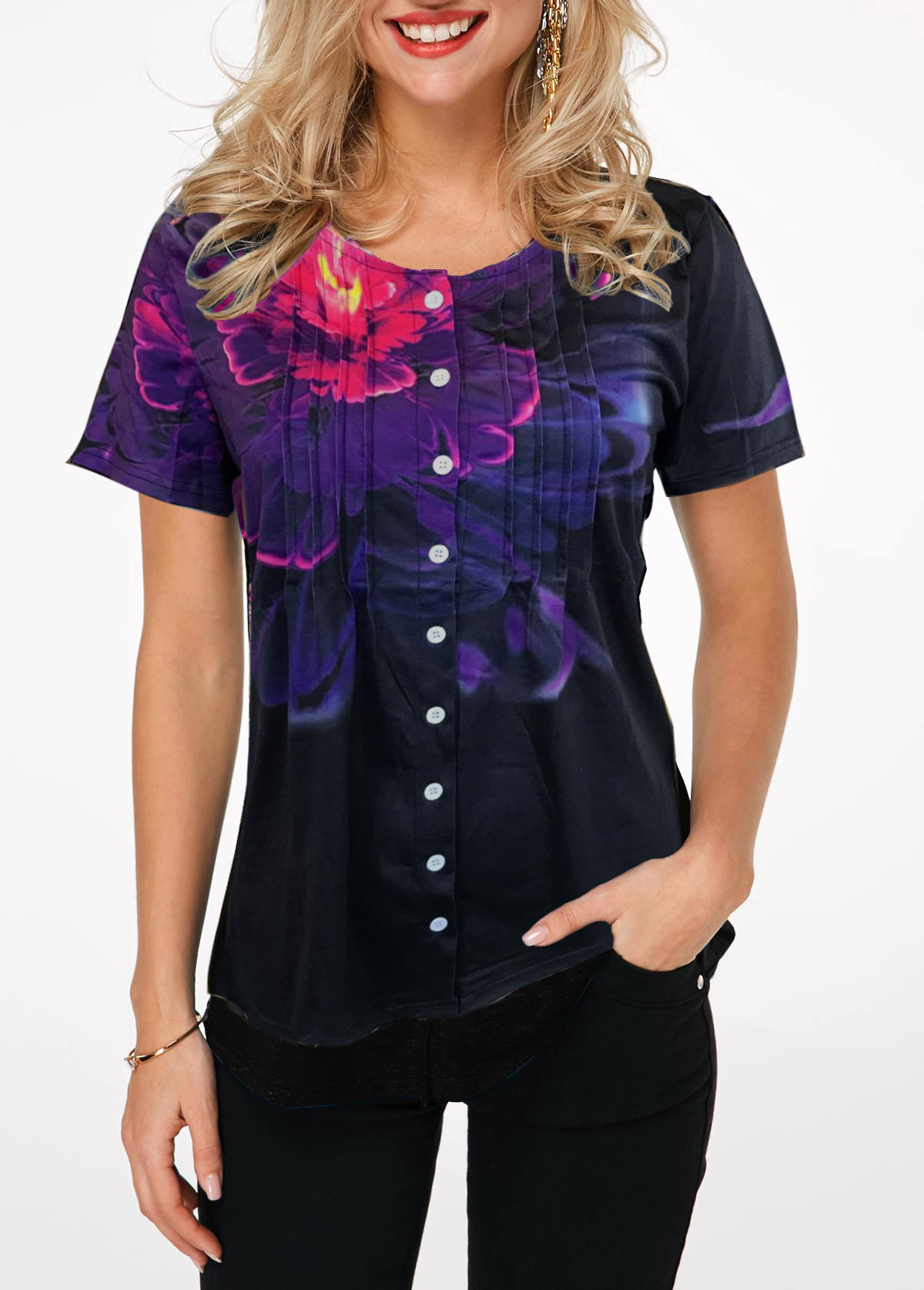 Crinkle Chest Button Up Black T Shirt