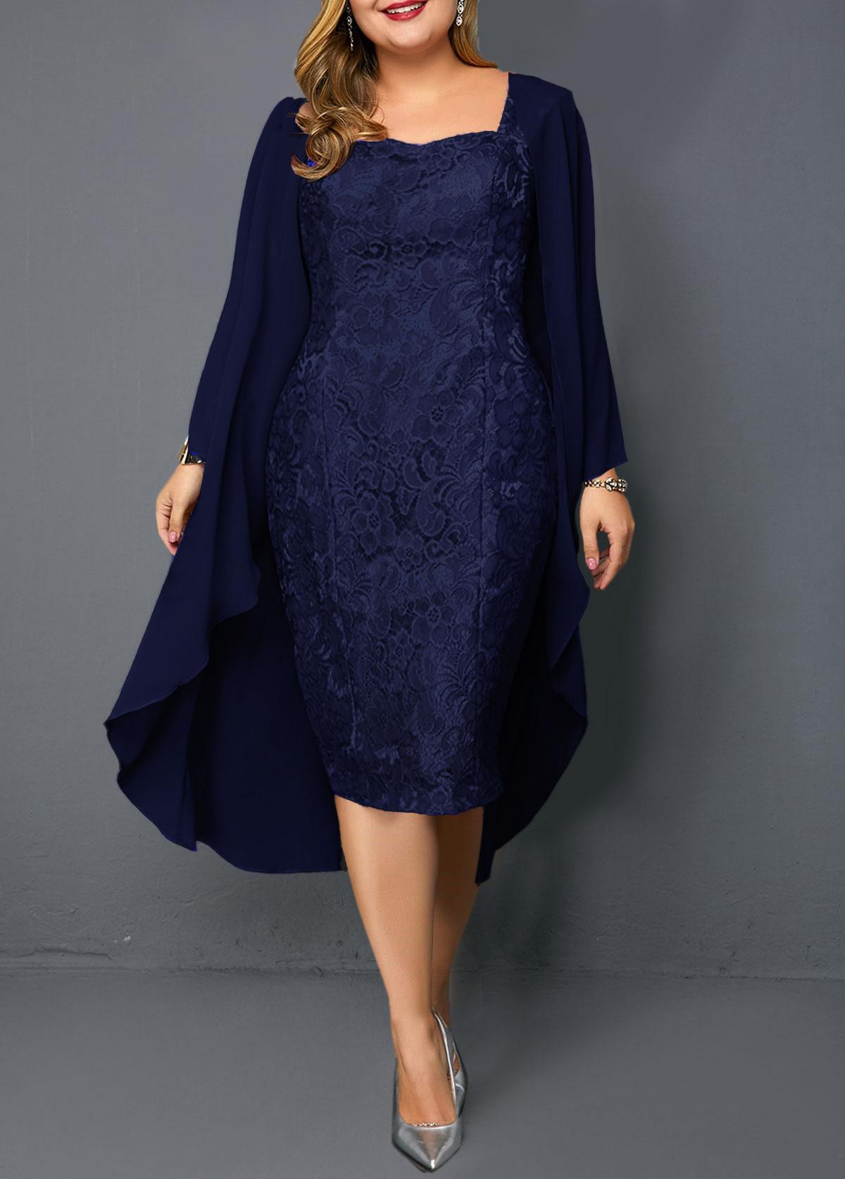 Plus Size Chiffon Cardigan and Sleeveless Royal Blue Lace Dress
