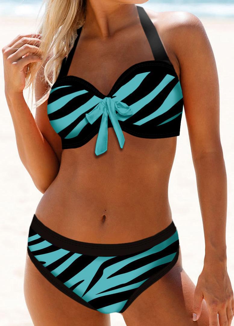 Halter Neck Bowknot Detail Leopard Print Bikini Set