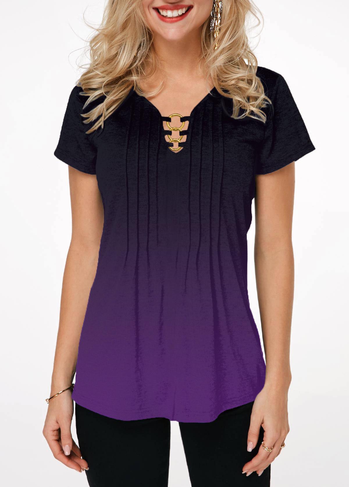 Short Sleeve Metal Ring Embellished Gradient T Shirt