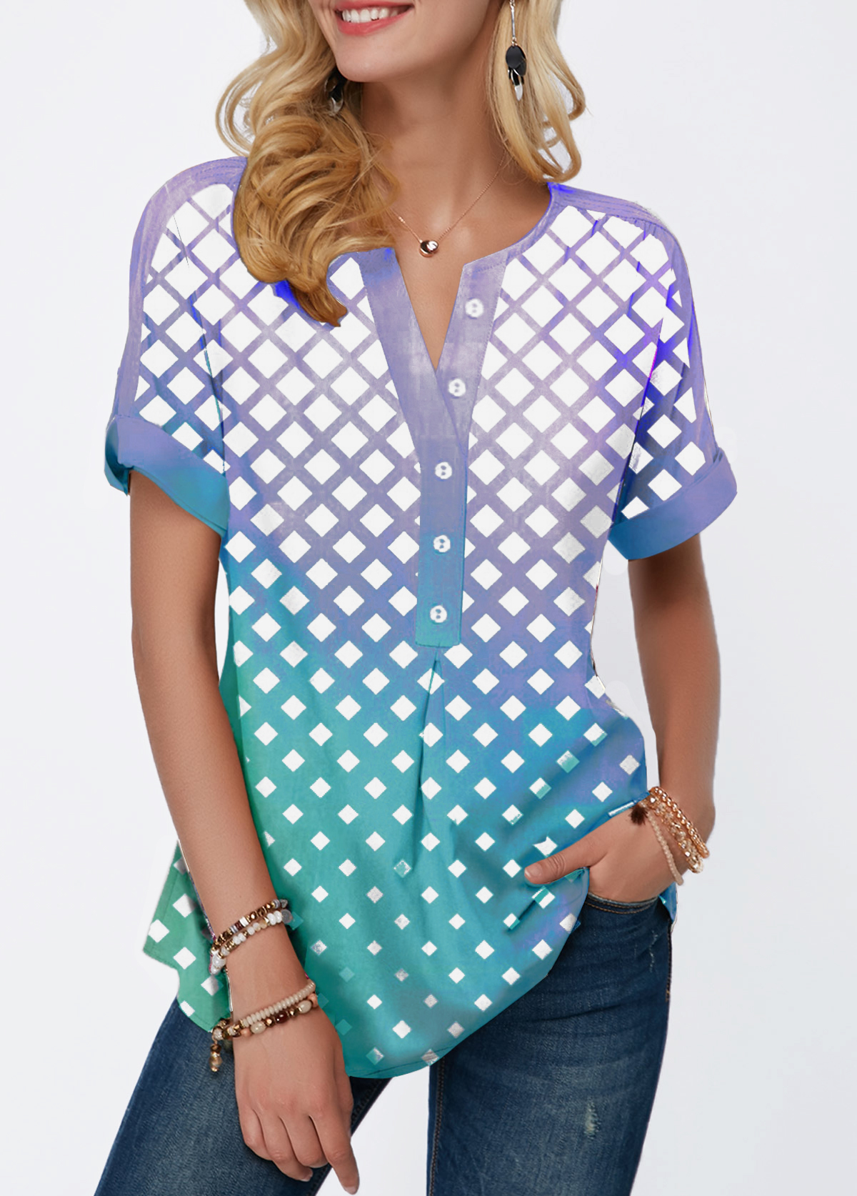 Dazzle Color Button Front Plaid Print Blouse
