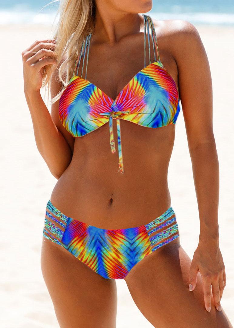 Knot Detail Strappy Back Dazzle Color Bikini Set