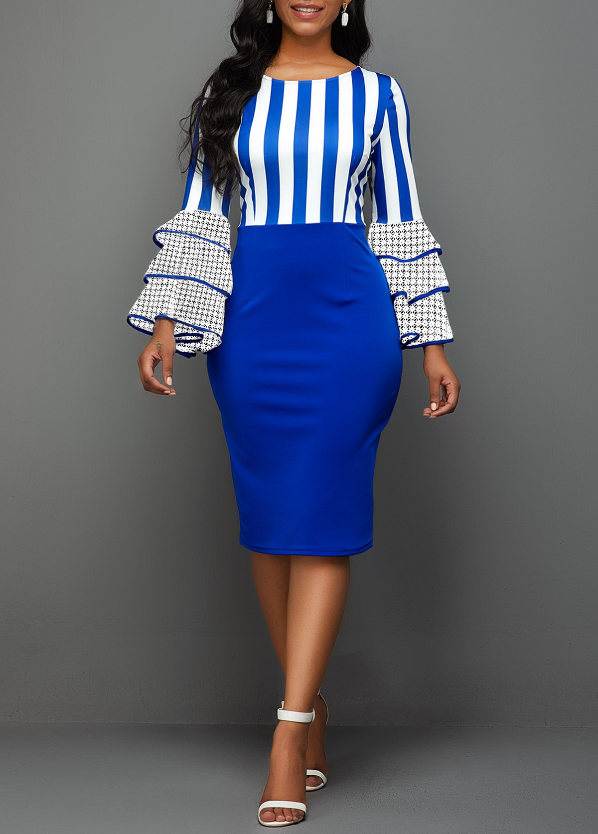 Layered Bell Sleeve Stripe Print Sheath Dress