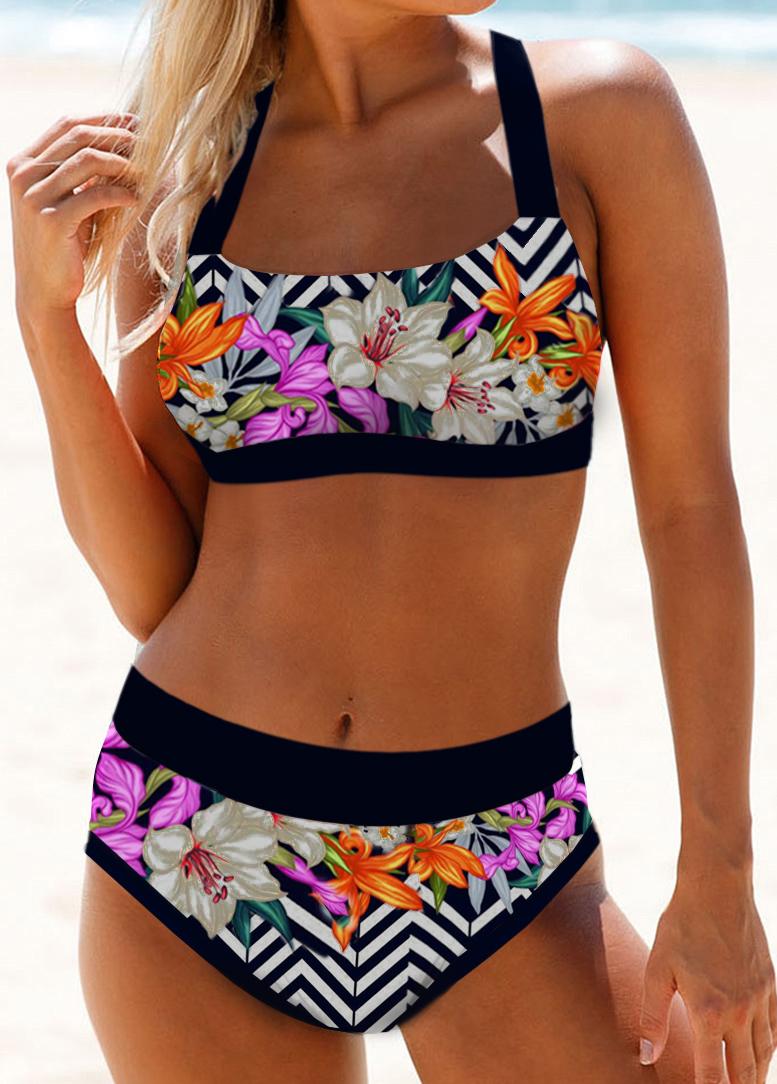 Tie Back Floral Print High Waist Bikini Set