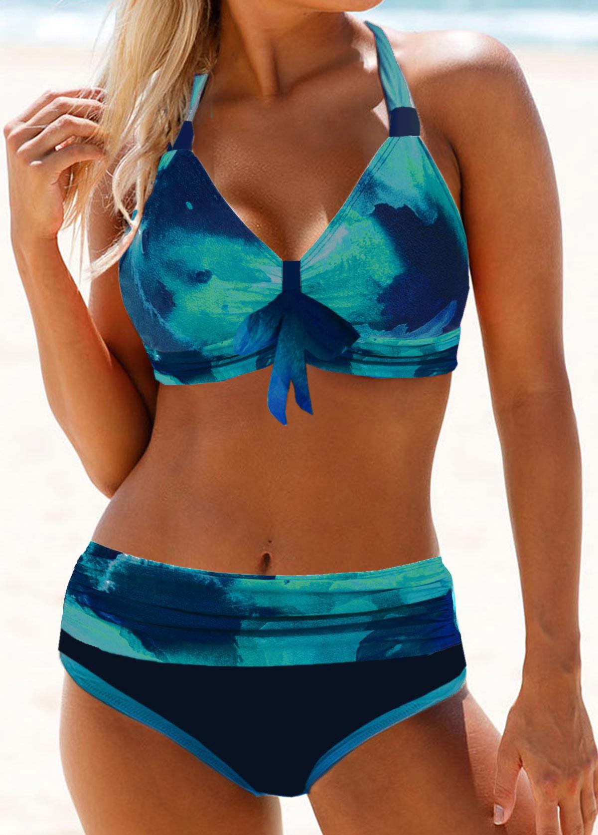 Halter Neck Tie Dye Bowknot Detail Bikini Set