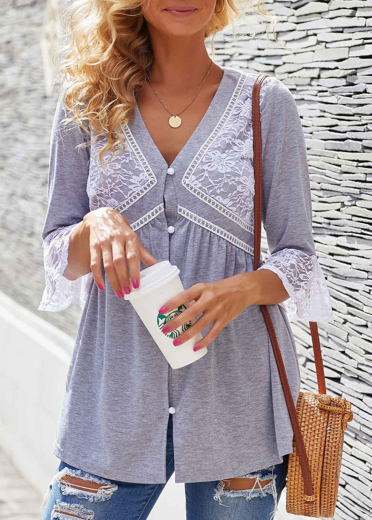 Lace Panel Button Detail V Neck T Shirt