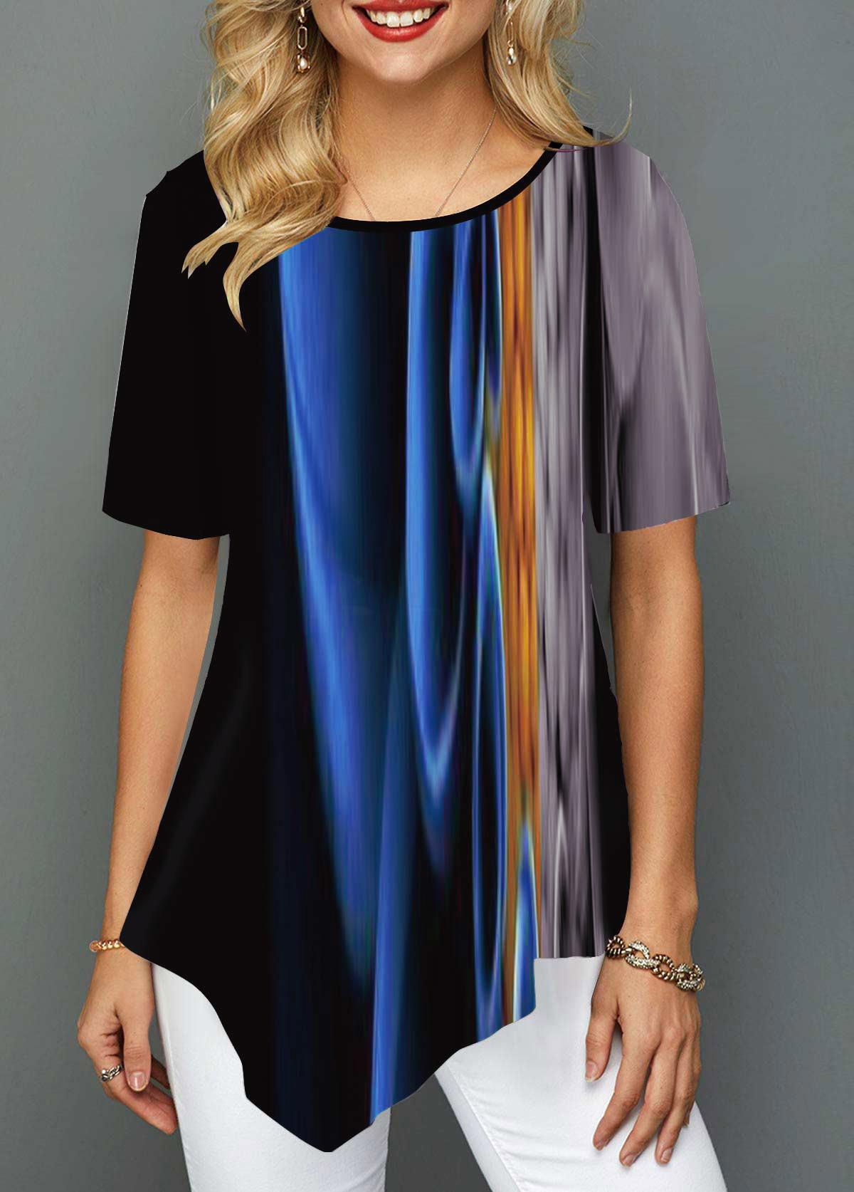 Asymmetric Hem Abstract Print Round Neck T Shirt