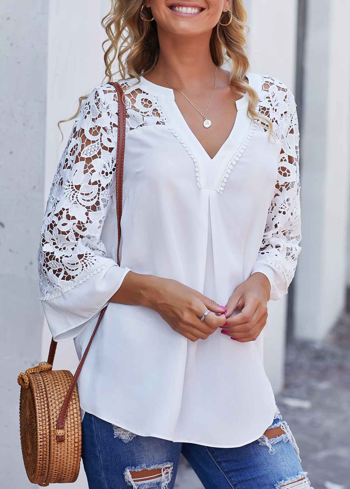 Lace Panel Split Neck Side Slit Blouse