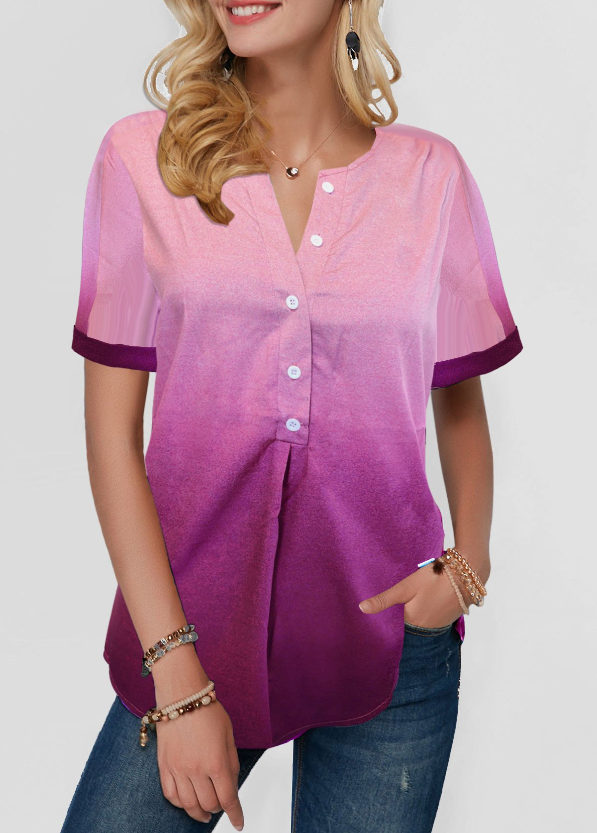 Split Neck Button Detail Dazzle Color Blouse
