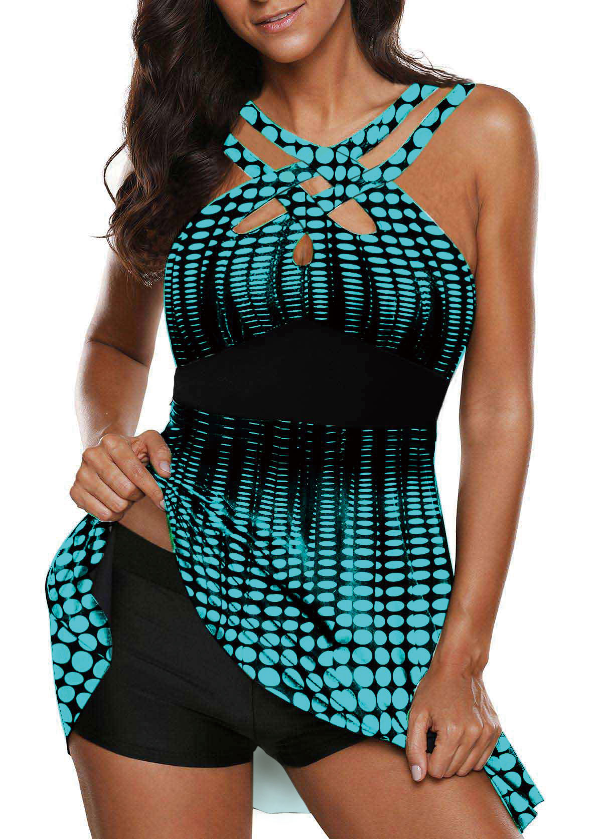 Open Back Cutout Front Printed Swimdress and Shorts
