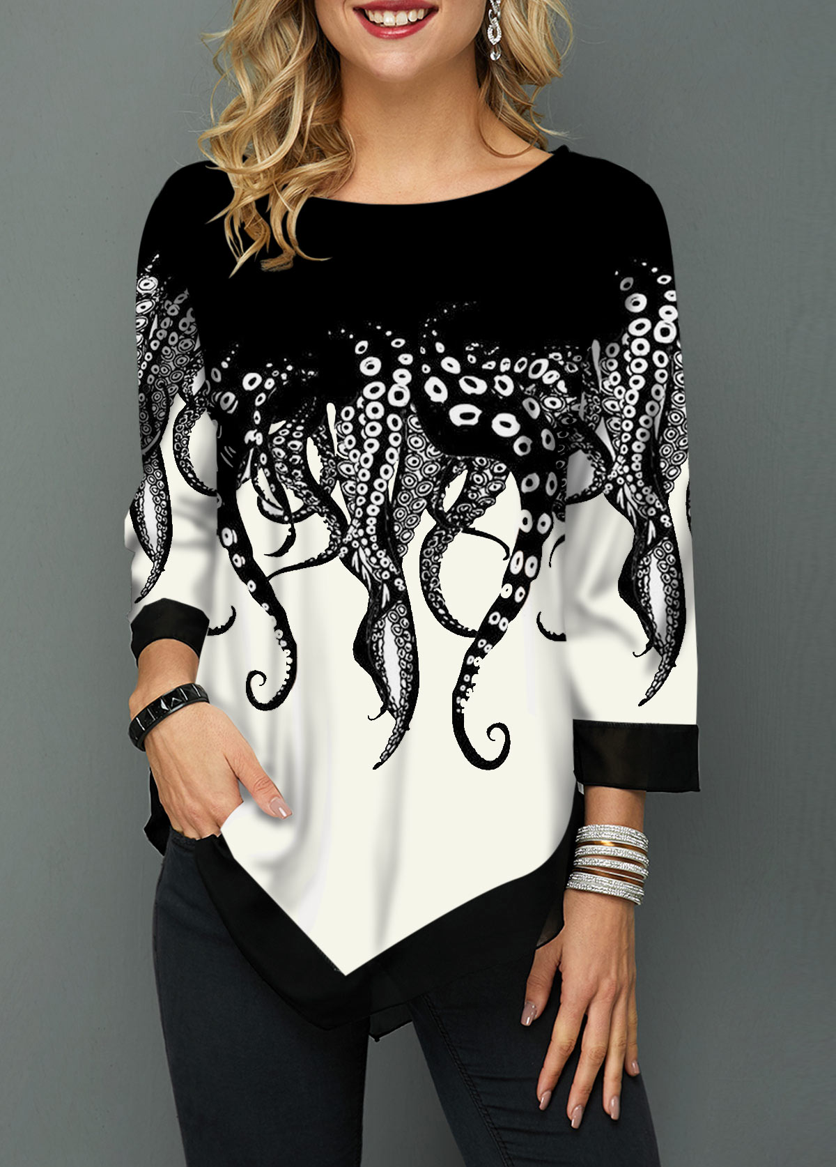 Asymmetric Hem Printed Three Quarter Sleeve T Shirt