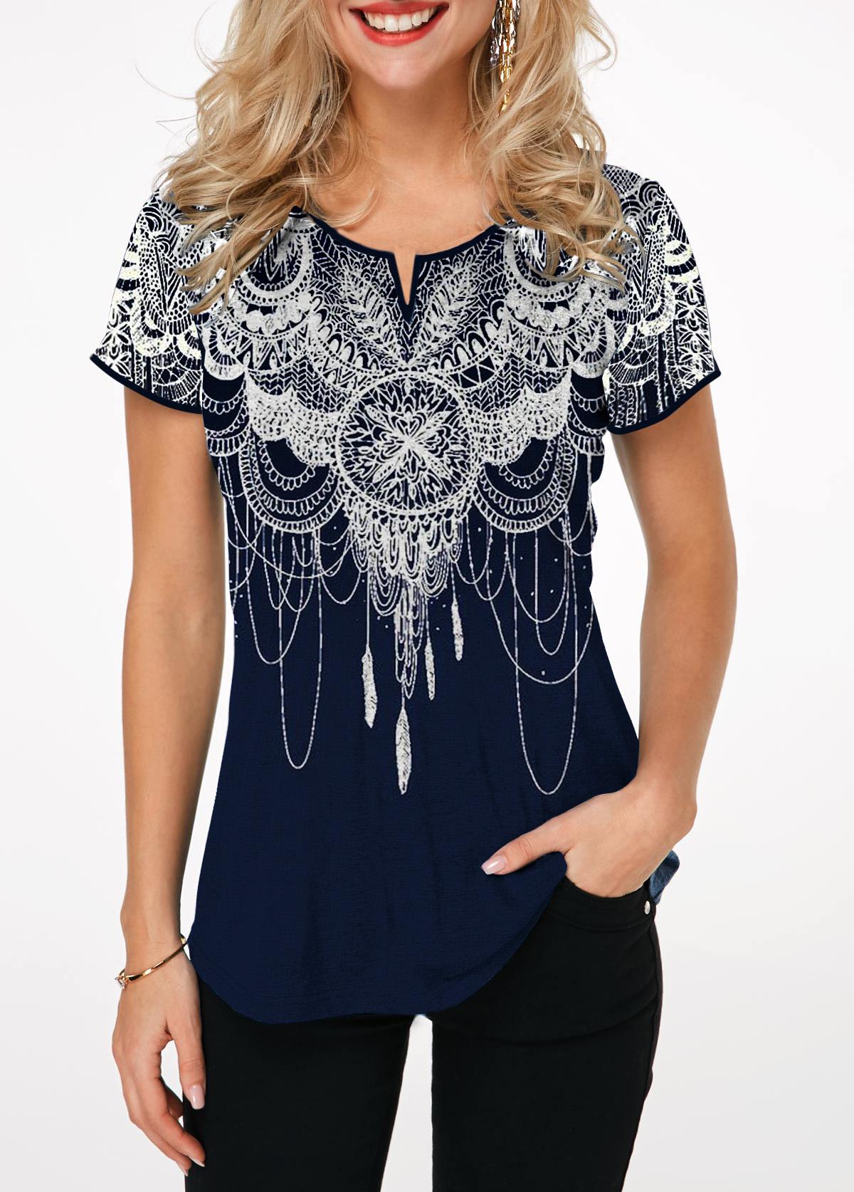 Retro Print Short Sleeve Split Neck T Shirt