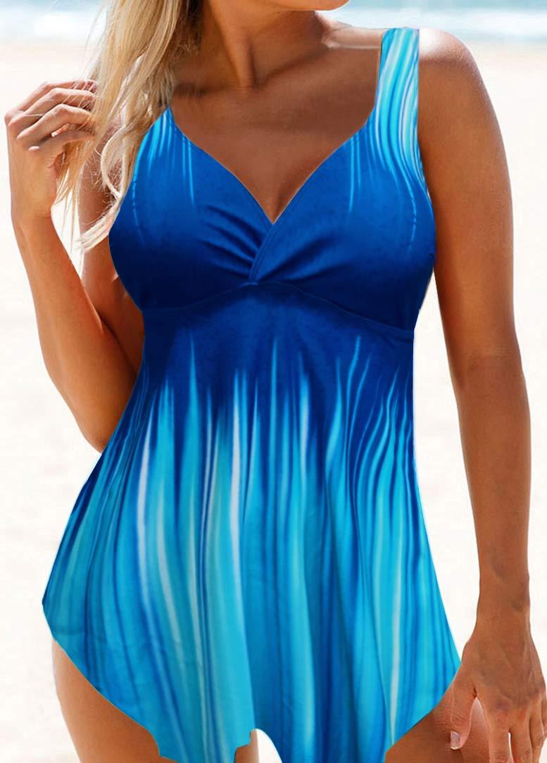 Open Back Asymmetric Hem Printed Swimdress and Panty