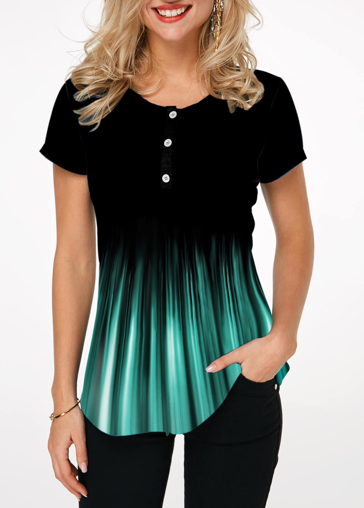 Printed Button Front Short Sleeve T Shirt
