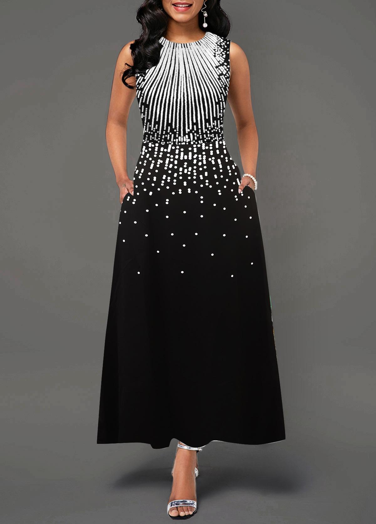 Round Neck Printed Sleeveless Pocket Maxi Dress