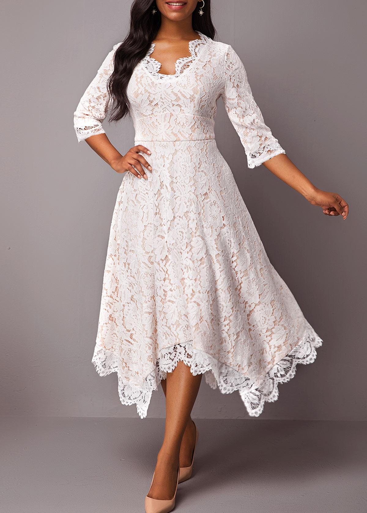 Asymmetric Hem Three Quarter Sleeve High Waist Lace Dress
